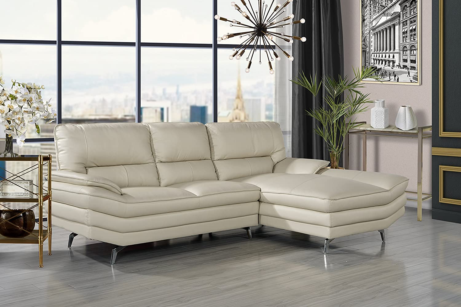 Amazon com divano roma furniture living room leather sectional sofa l shape couch with chaise lounge beige kitchen dining