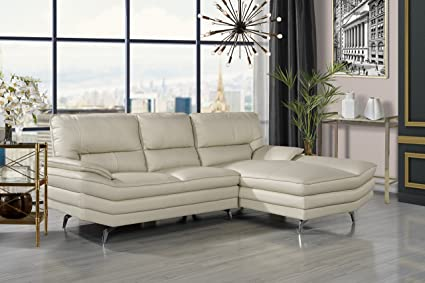 Amazon.com: Divano Roma Furniture Living Room Leather Sectional Sofa ...