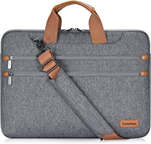 "LONMEN 15.6 Inch Laptop Shoulder Bag,Computer Sleeve Carrying Case for Lenovo 15.6"" Ideapad 330/15.6"" HP EliteBook 850 G3 / Dell New Latitude 3590 Chromebook Ultrabook (Gray)"