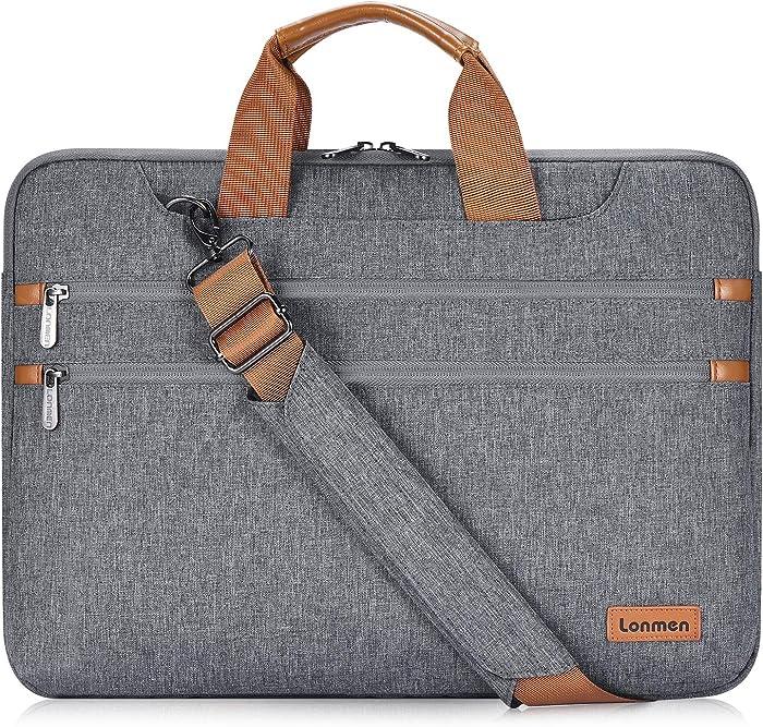 LONMEN 17.3 Inch Laptop Shoulder Bag,Computer Sleeve Carrying Case for 17.3