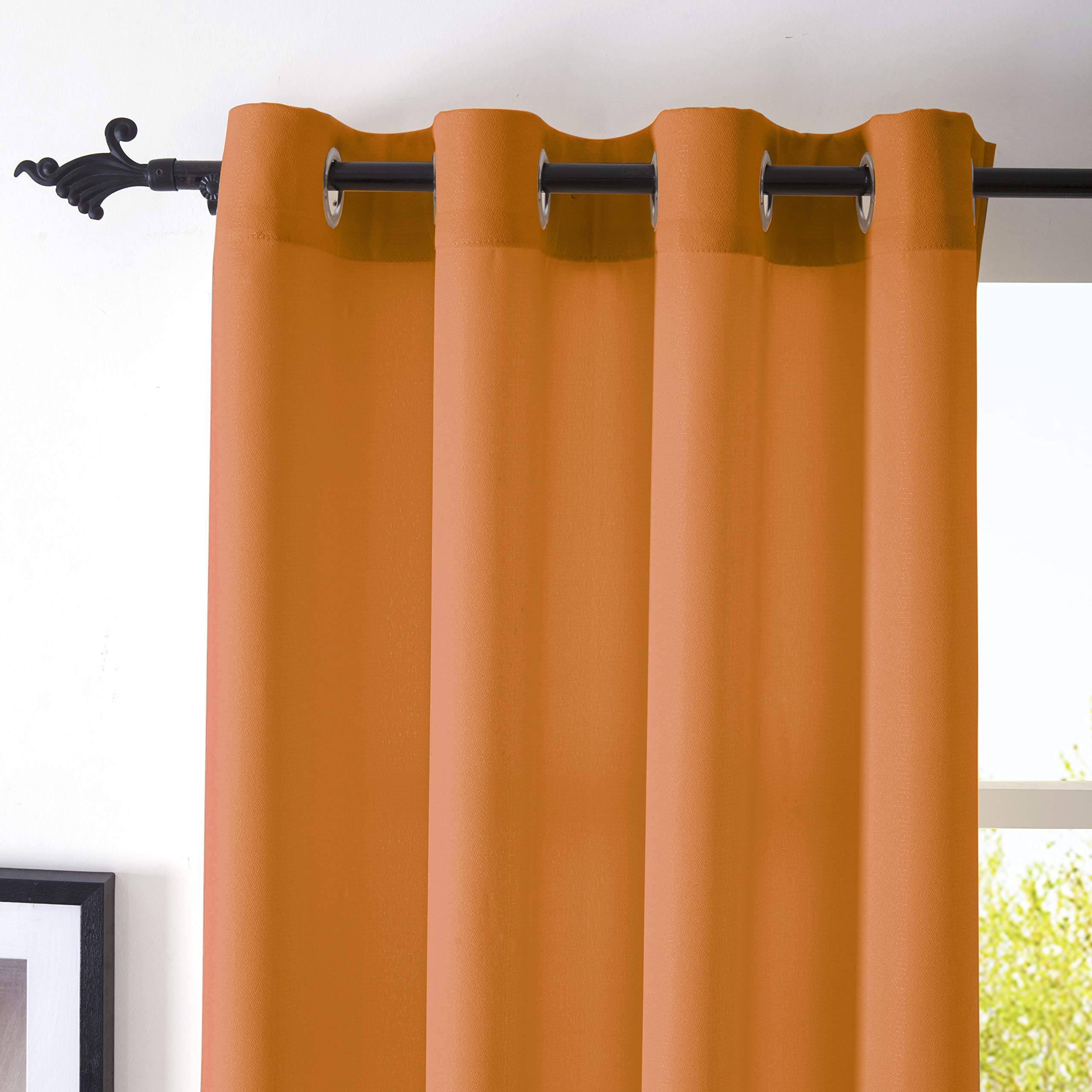 DWCN Semi Sheer Curtains Sunlight Filtering Country Modern Style Draperies 8 Grommets Window Orange Curtain 52x63 inch Long Set of 2 Faux Linen Panels for Living Room by DWCN (Image #3)