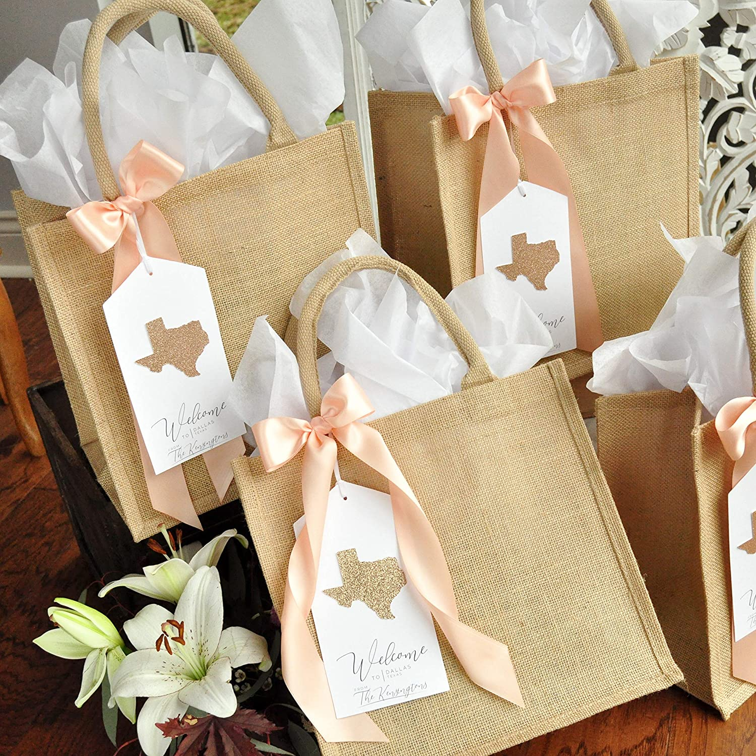 35 Mint Wedding Welcome Bags with satin ribbon /& your names Personalized Beach Wedding gifts and favors bag for guests Elegant Wedding favor