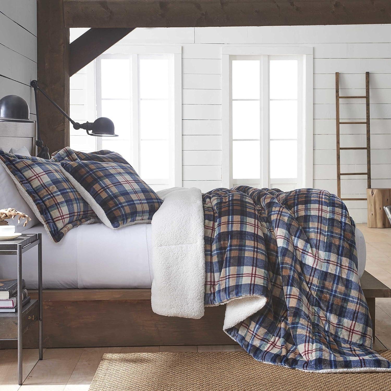 Vellux Ethan Plush Sherpa Plaid Reversible Comforter Set 2 Piece Amazon Co Uk Kitchen Home
