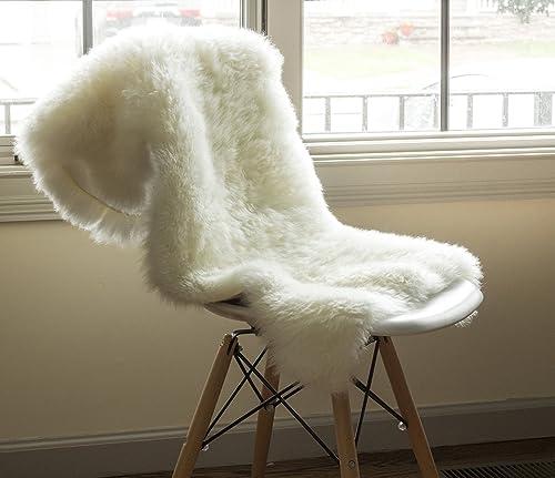 Super Area Rugs Ultra-Soft New Zealand Fluffy Sheepskin Rug, Single Pelt, Natural