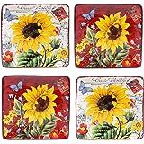 "Certified International 13990SET/4 Sunflower Meadow Canapé Plates (Set of 4), 6"", Multicolor"