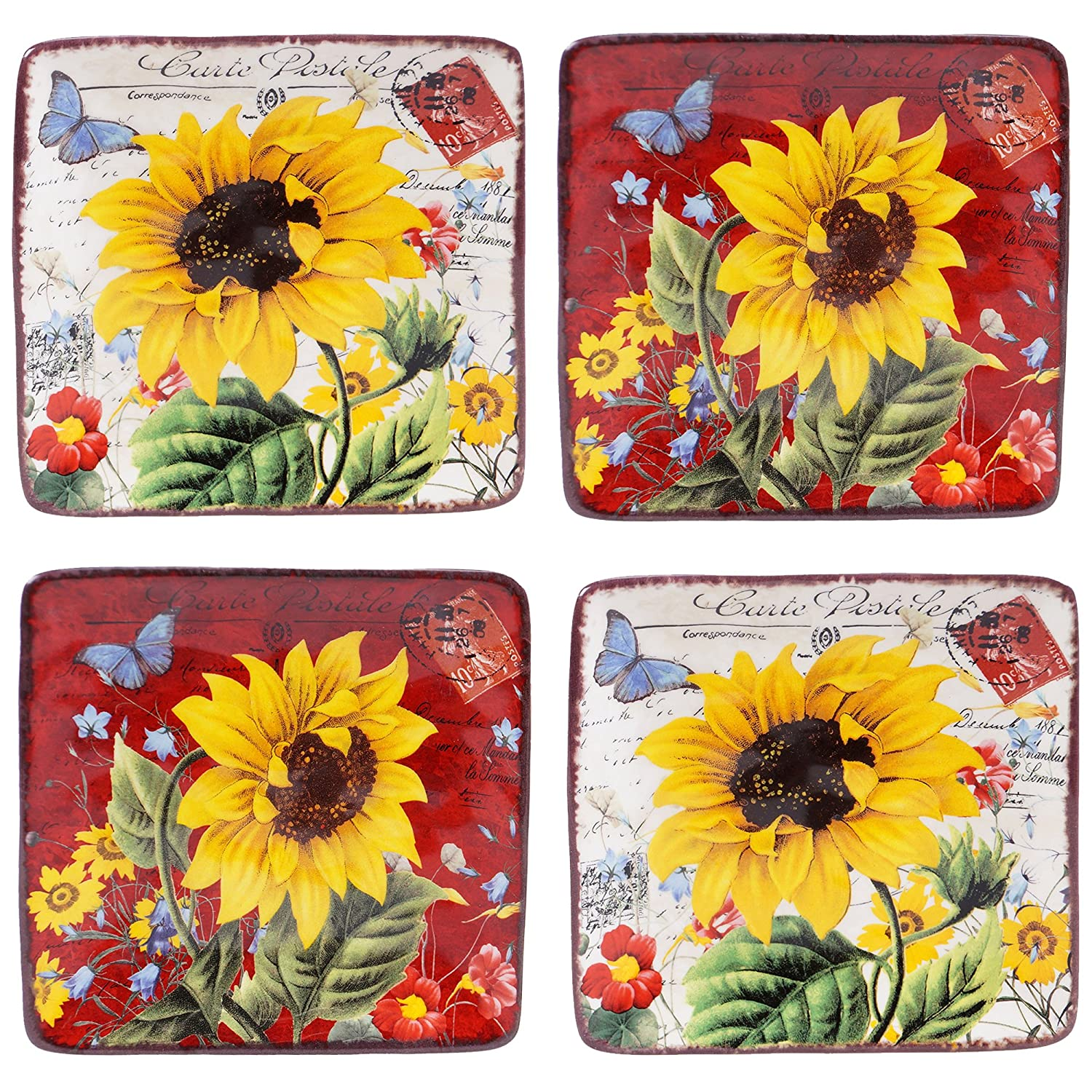 Certified International 13990SET/4 Sunflower Meadow Canapé Plates (Set of 4), 6-Inch, Multicolor