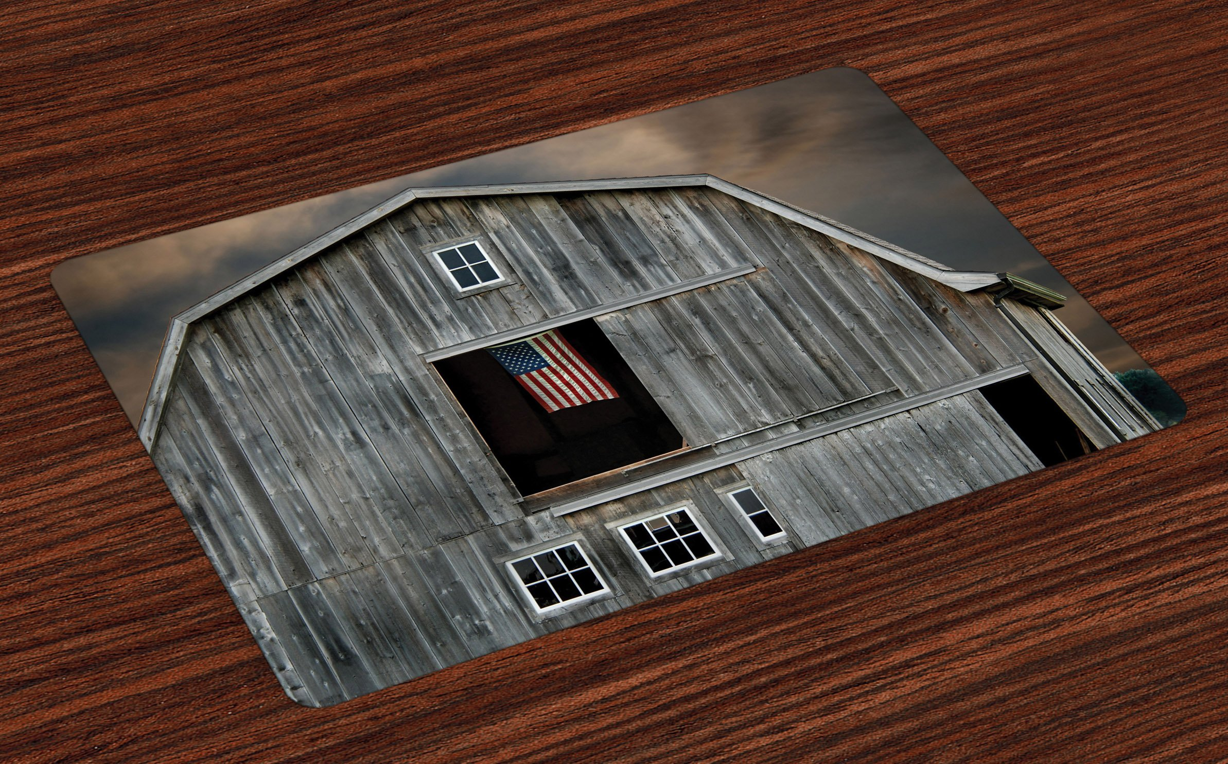Lunarable American Flag Place Mats Set of 4, American Flag Flying in Hayloft Window Wooden Old House Dark Evening View, Washable Fabric Placemats for Dining Room Kitchen Table Decor, Grey Tan Black