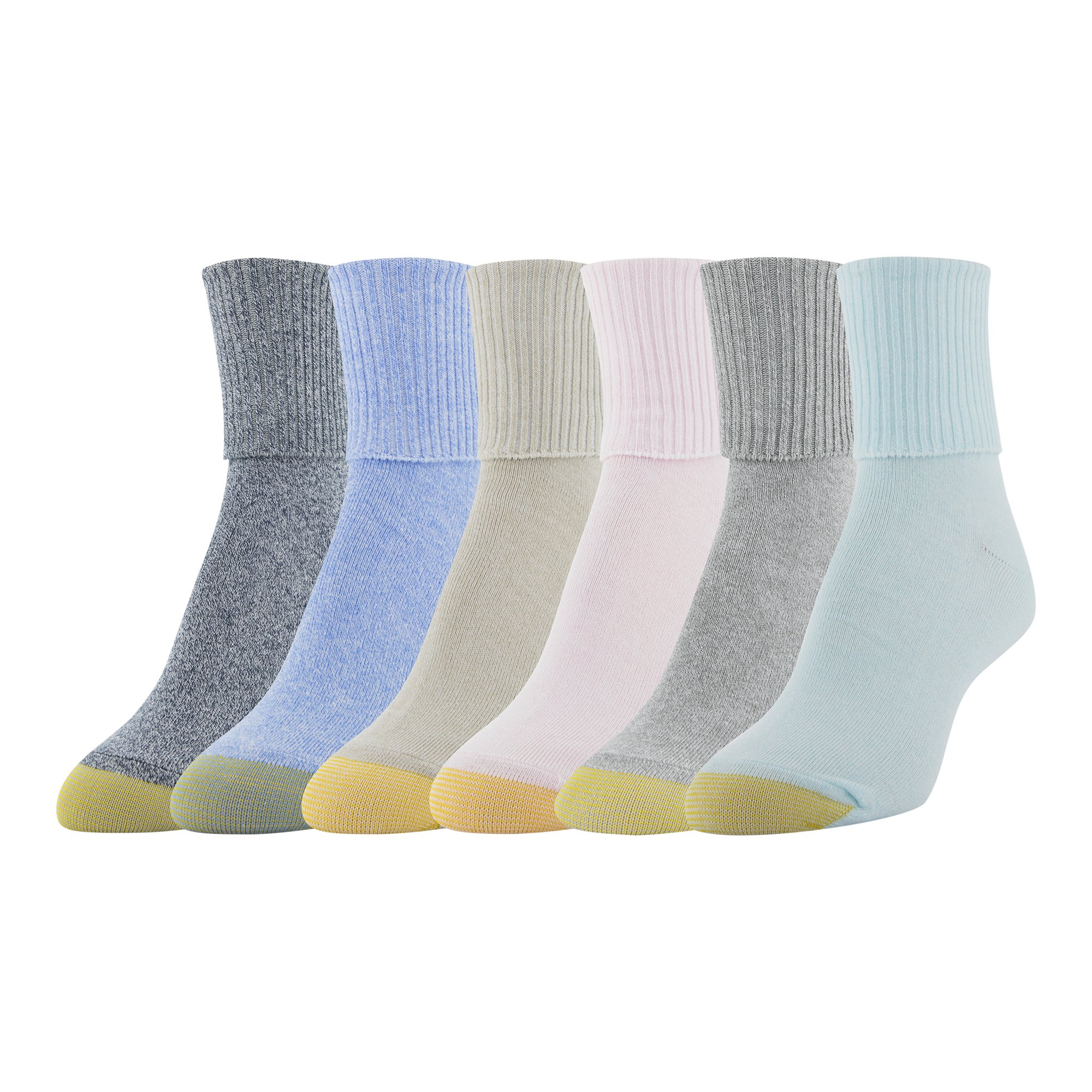 Gold Toe Women's 6-Pack Turn Cuff Sock Blue Mix Shoe Size 6-9/Sock Size 9-11