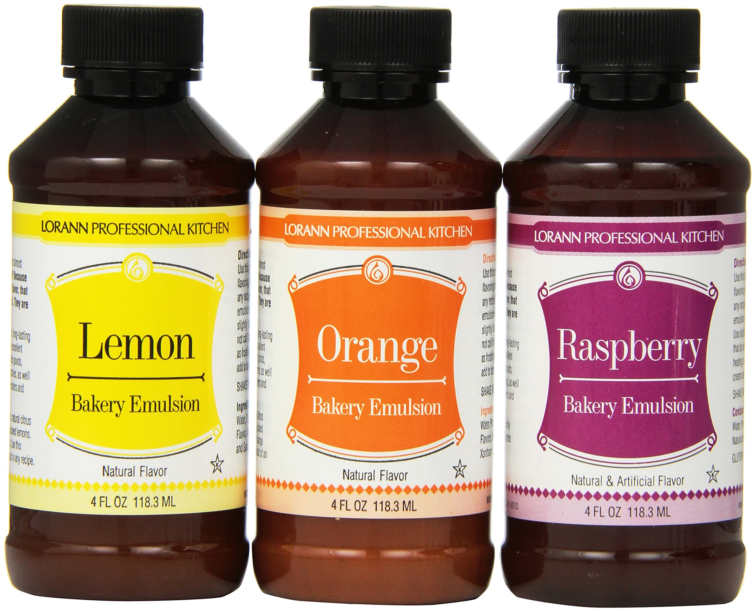 Lorann Oils Bakery Emulsion Bundle, Lemon, Orange and Raspberry, 4 Fluid Ounce