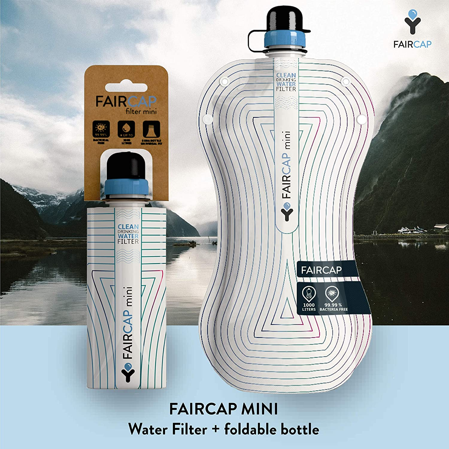 For 28mm PET bottles. Filters 99.99/% of bacteria and other pathogens Ideal for travel hiking Faircap Mini Portable Water Purifier camping and adventure sports