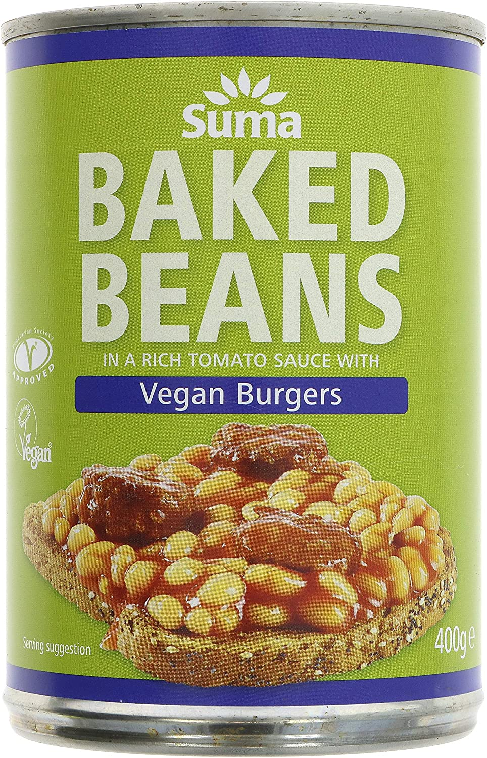 Suma Organic Baked Beans with Vegan Burgers 400g (Pack of 12)