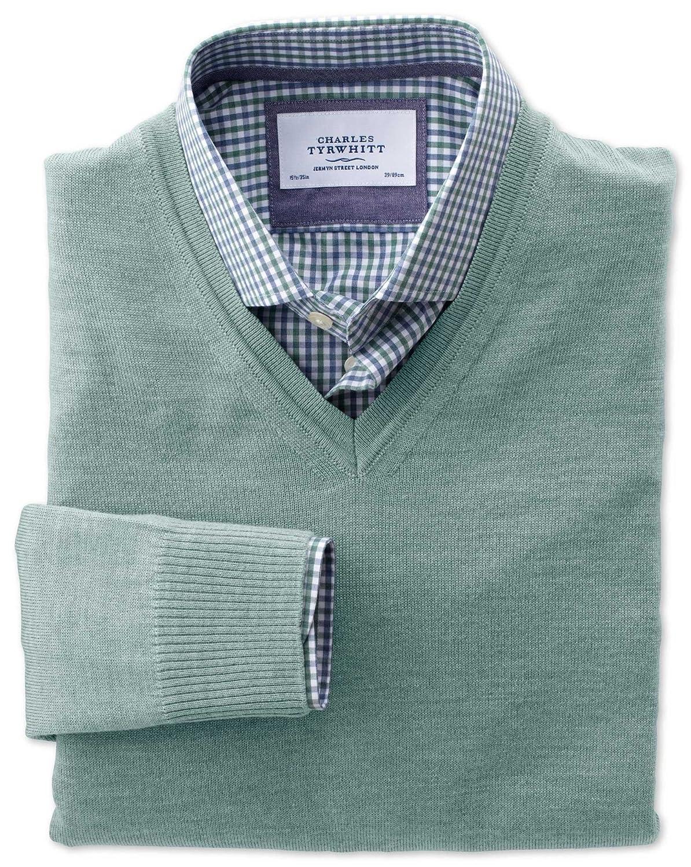 Charles Tyrwhitt Light green merino wool v-neck jumper