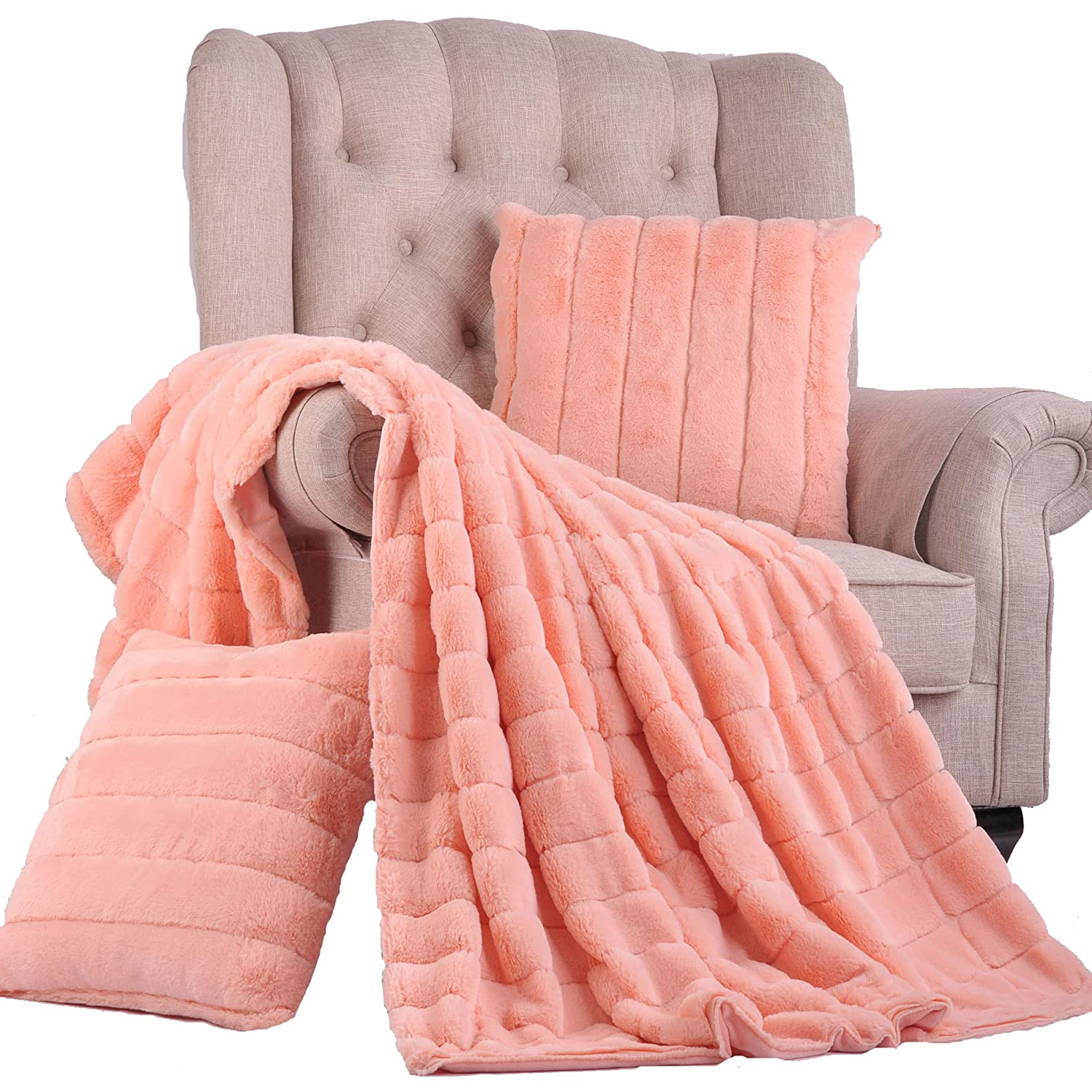 BOON Rabbit Fur Throw with 2 Pillow Combo Set Peach Echo