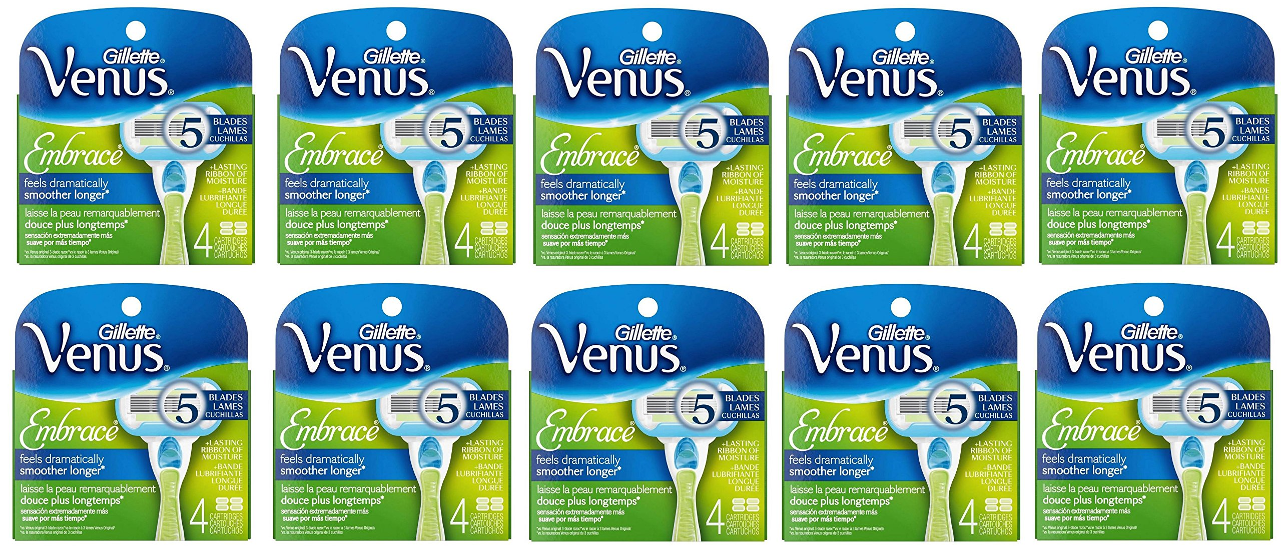 Gillette Venus Embrace Womens Razor Blade Refills BhXIISr, 10Pack (4 Count)