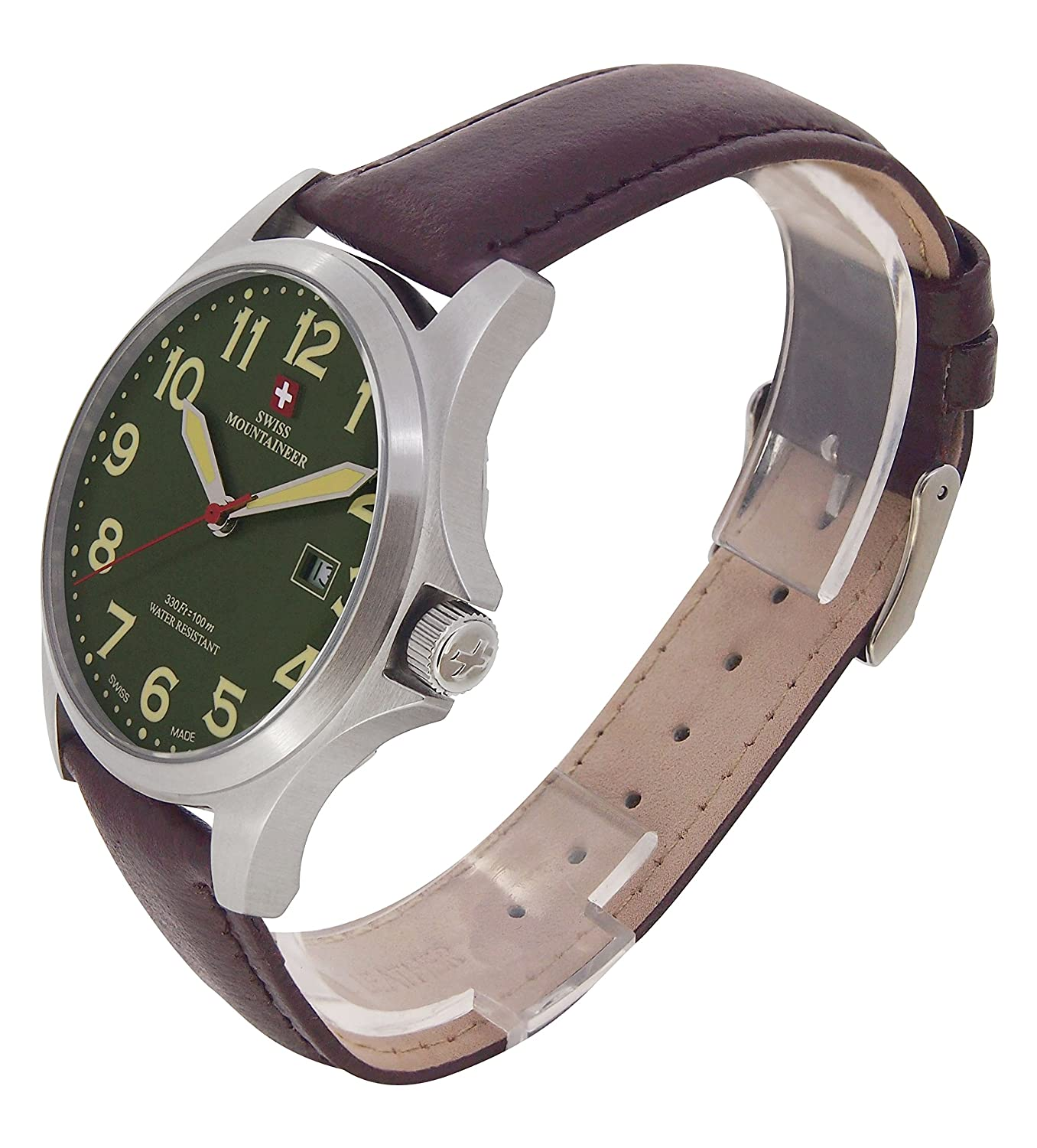Amazon.com: Swiss Mountaineer Mens Swiss Watch Brown Leather Band Large Green Easy Read Dial Date Display SML8032: Swiss Mountaineer: Watches
