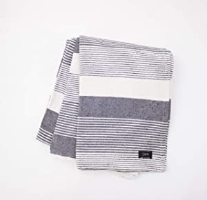 Contemporary Grey Durable Striped Shamad Blanket Jacquard Twin Size Throw of Bedcover 60