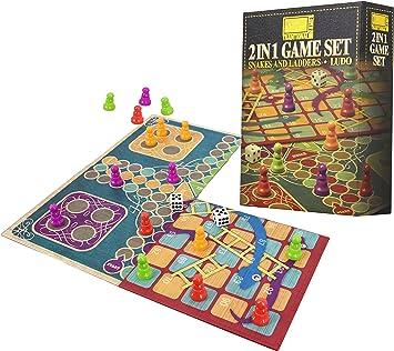 Juego de tablero tradicional 2 en 1 - Serpientes y escaleras y Ludo Tablero doble plegado: Amazon.es: Juguetes y juegos