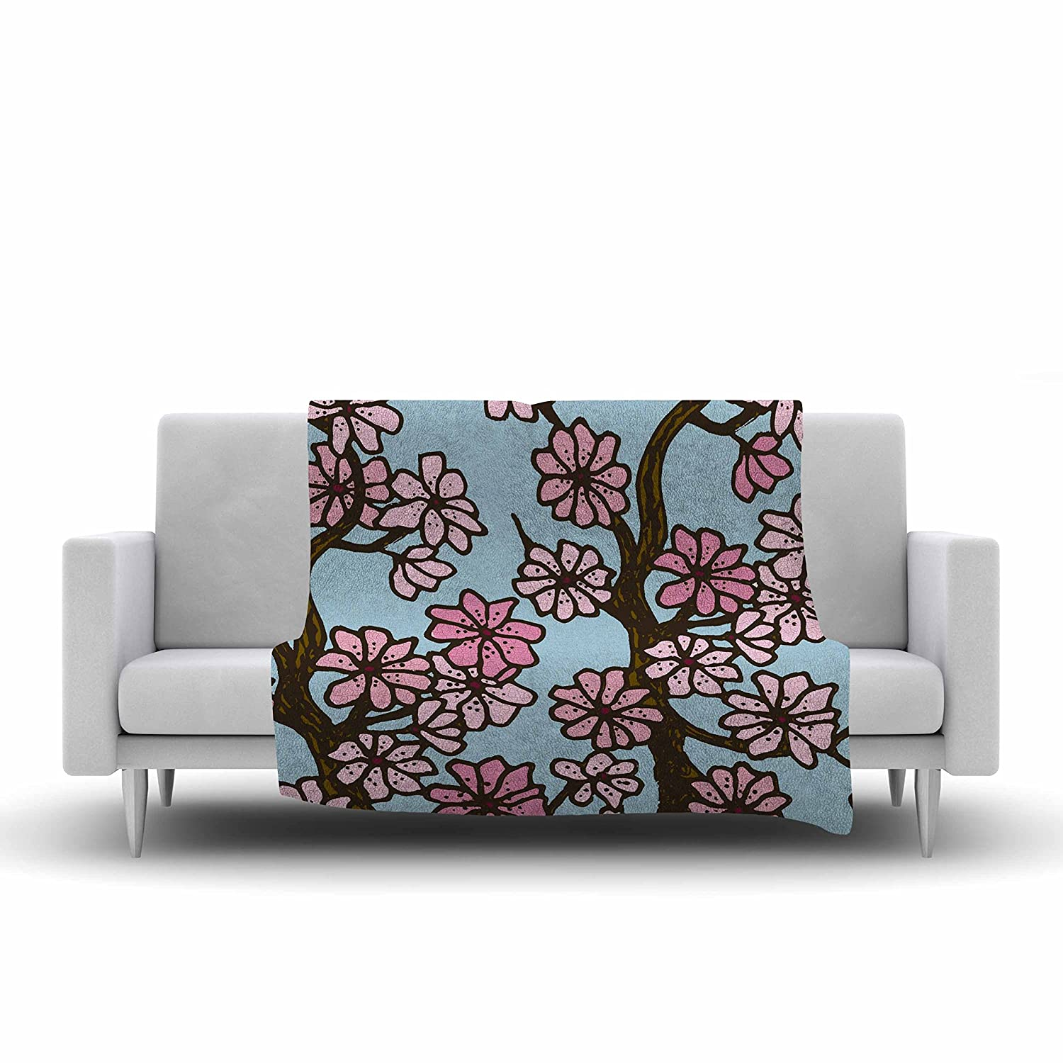 60 by 50 Kess InHouse Art Love Passion Cherry Blossom Day Floral Illustration Fleece Throw Blanket