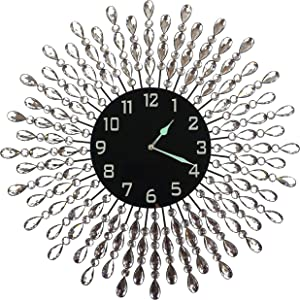 """LuLu Decor, 23.5"""" Crystal Drop Metal Wall Clock, Black Glass Dial 9.50"""" with Arabic Numerals, Great Clock for Living Room & Bed Room"""