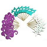 24 Pieces Mermaid Theme Glitter Cupcake Topper Cake Picks Decoration for Baby Shower Birthday Party Favors, Mermaid Tail, Seahorse and Starfish Food Picks