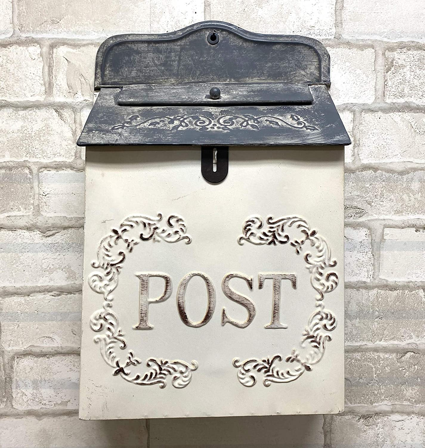 "The Nifty Nook I Vintage Style Post Box I Nostalgic Charm Home Decor I Farmhouse Design I 15.9"" Height x 11"" Wide (White Rectangular)"