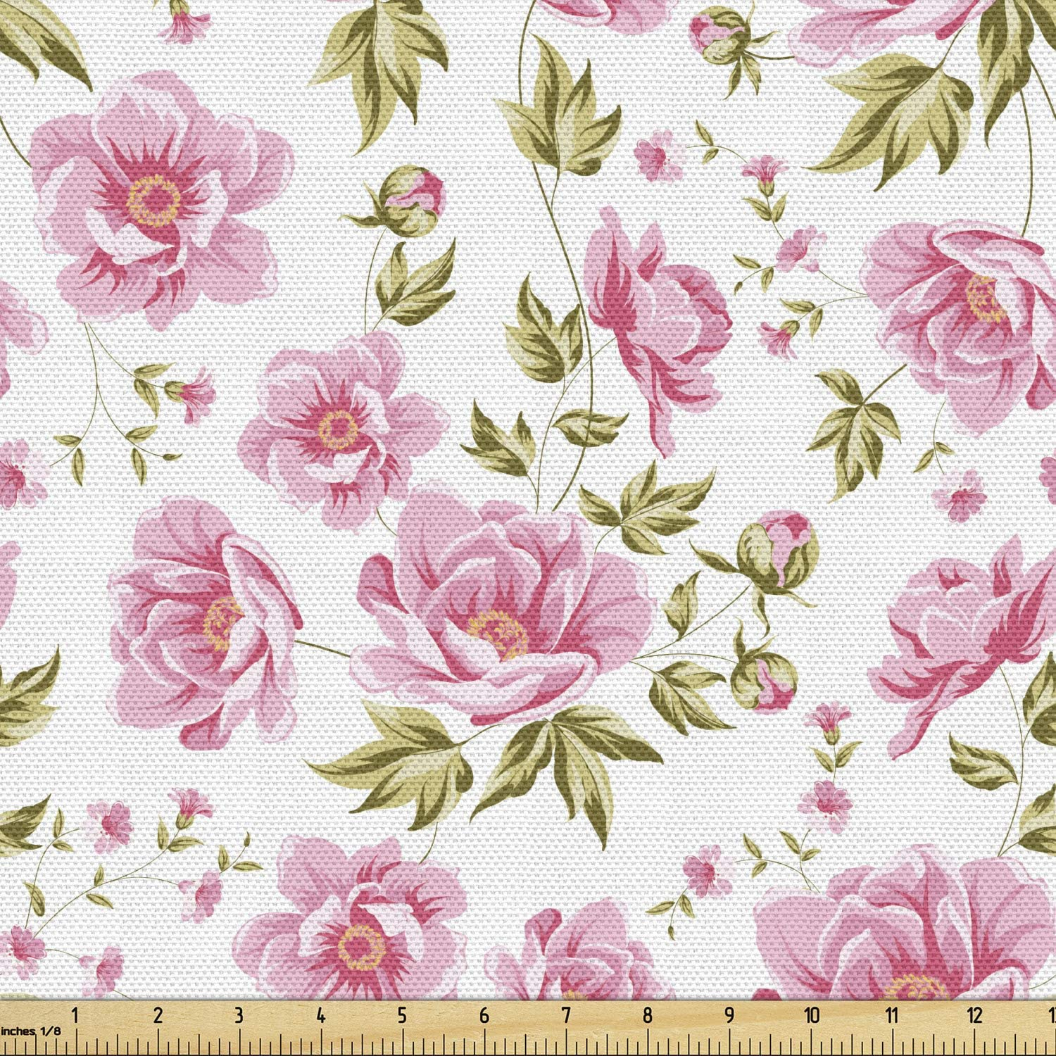 Amazon Com Ambesonne Floral Fabric By The Yard Peony Floral Pattern With The Leaves Vintage Style In Graphic Print Boho Art Decorative Fabric For Upholstery And Home Accents Green Pink White