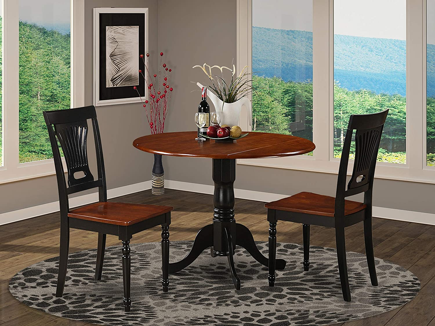 DLPL3-BCH-W 3 Pc small Kitchen Table and Chairs set-round Table and 2 dinette Chairs.