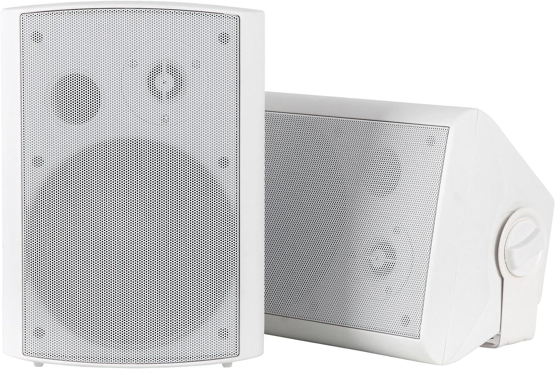 Dos altavoces de pared Pronomic USP-540 WH HiFi en blanco de 160 vatios