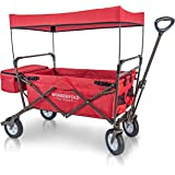 WonderFold Outdoor 2017 All New Collapsible Canopy Folding Wagon Utility Cart with 180 Degree Steering Telescoping Handle with Spring Bounce, Auto Safety Lock, EVA Tire and Stand (No Brake) (Ruby Red)