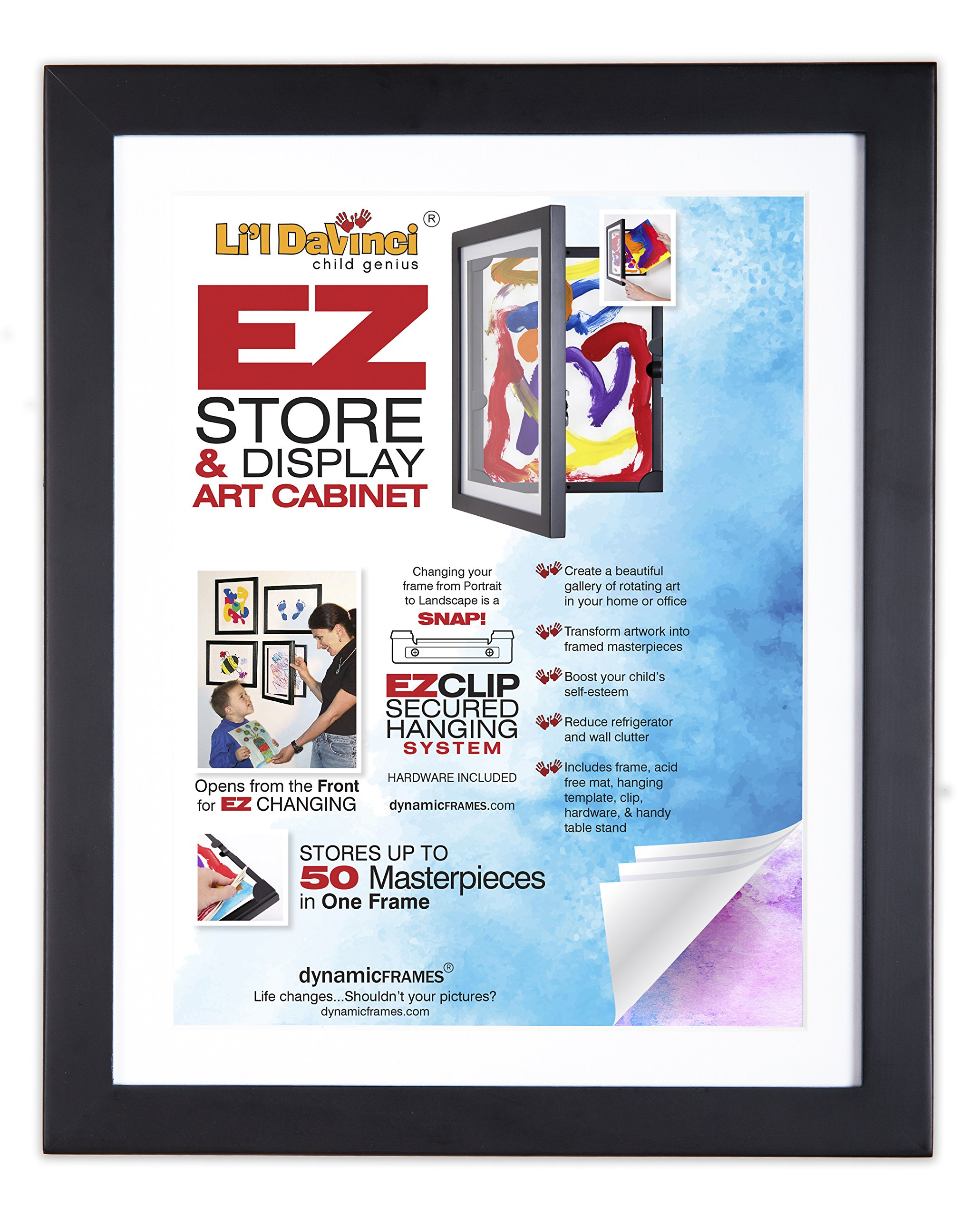 Li'l DAVINCI Kid's Art Frames - Front-Opening, EZ Store Wooden Frames That Allow You to Hold up to 50 Items in Each! Package of 2 (for 8.5x11 Items, Black)