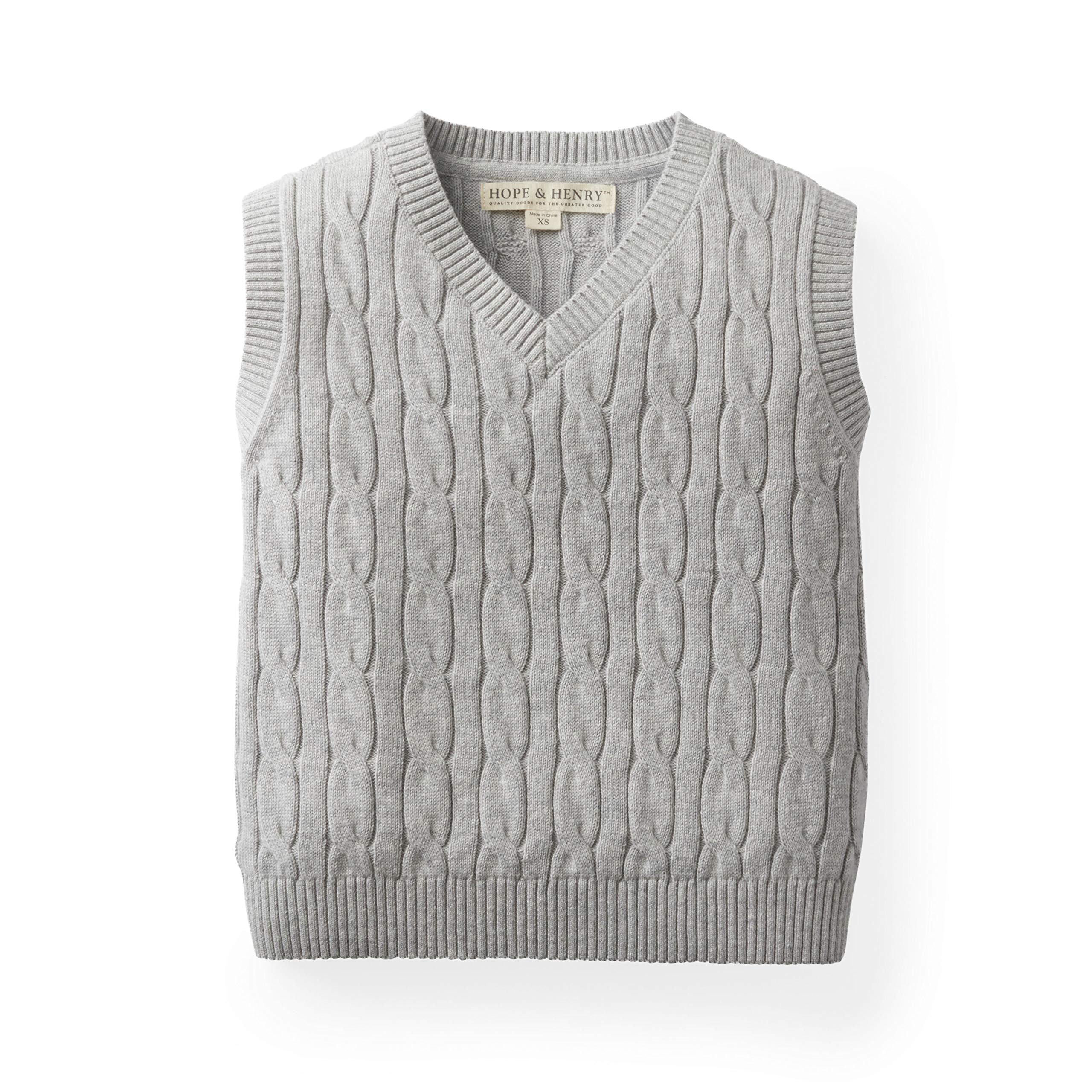 Hope & Henry Boys' Grey Cable Sweater Vest Made with Organic Cotton
