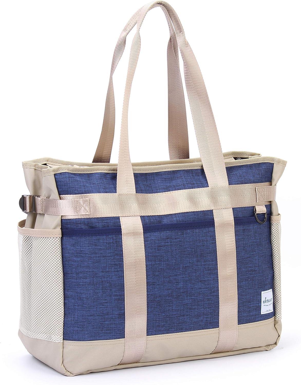 Teacher Utility Tote Bag with Multiple Pocket Lightweight Organizer Handbag for Nurses and Soccer Moms
