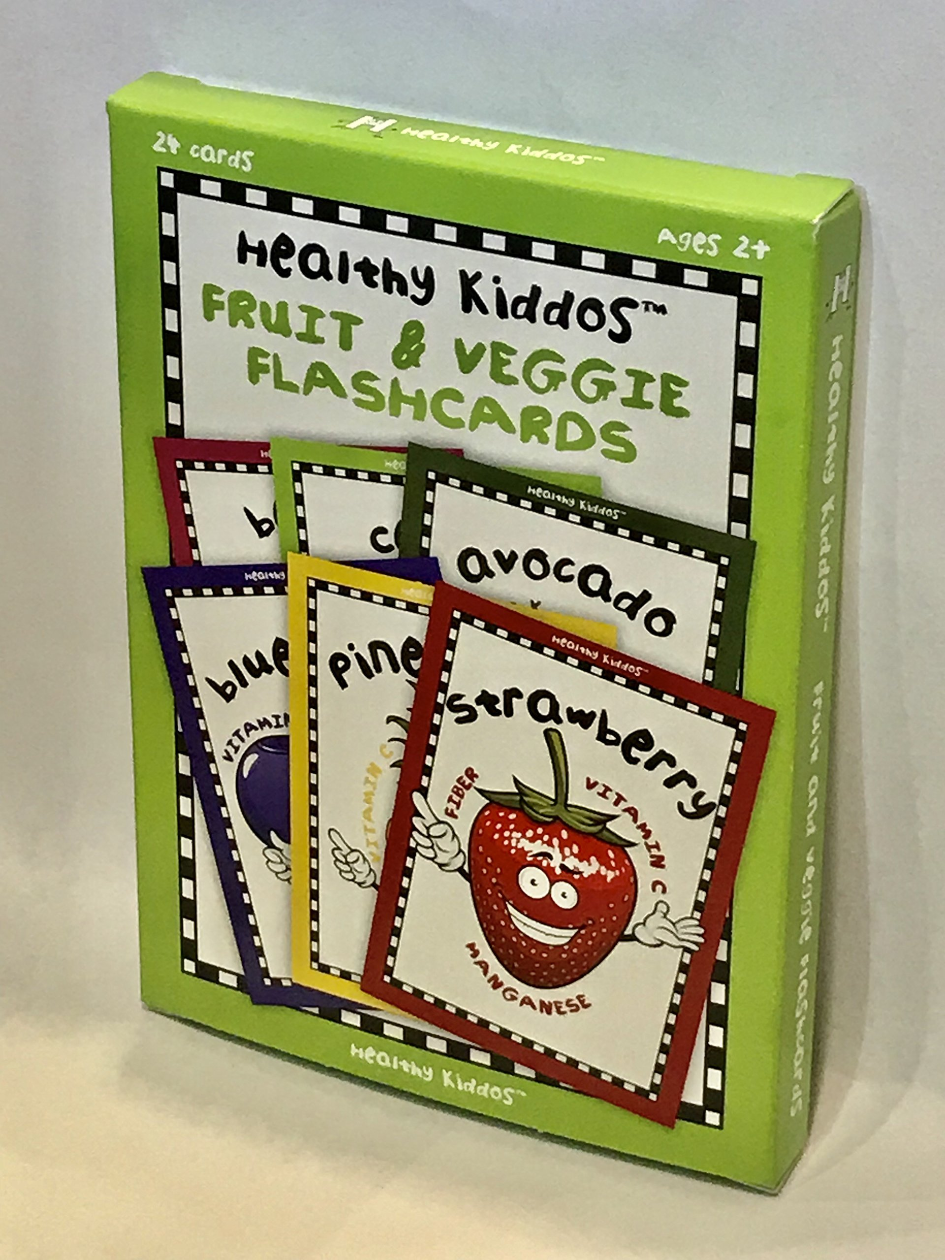 Healthy Kiddos Educational Fruit and Vegetable Flash Cards Teach Children Nutritional Benefits of Fruits and Veggies - 24 ct