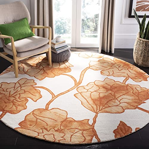 Safavieh Dip Dye Collection DDY683A Handmade Modern Floral Watercolor Ivory and Orange Wool Round Area Rug 7 Diameter