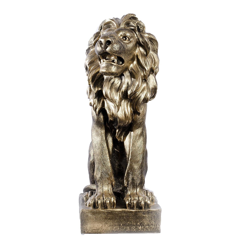 Handmade Löwe Löwen Figuren Lion Löwenskulptur aus Polyresin Altgold rechts