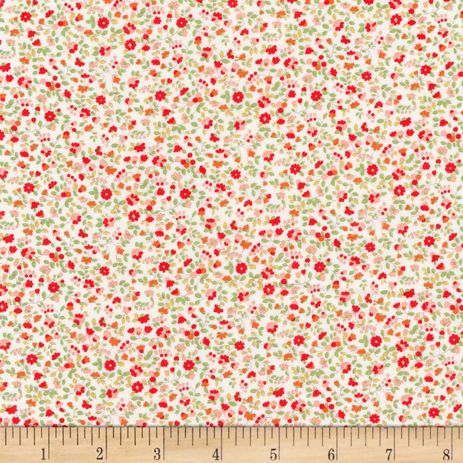 Kaufman Sevenberry: Petite Garden Lawn Flowers Red Fabric by The Yard