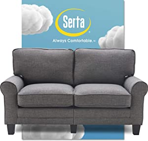 "Serta Copenhagen Sofa Couch for Two People, Pillowed Back Cushions and Rounded Arms, Durable Modern Upholstered Fabric, 61"" Loveseat, Gray"