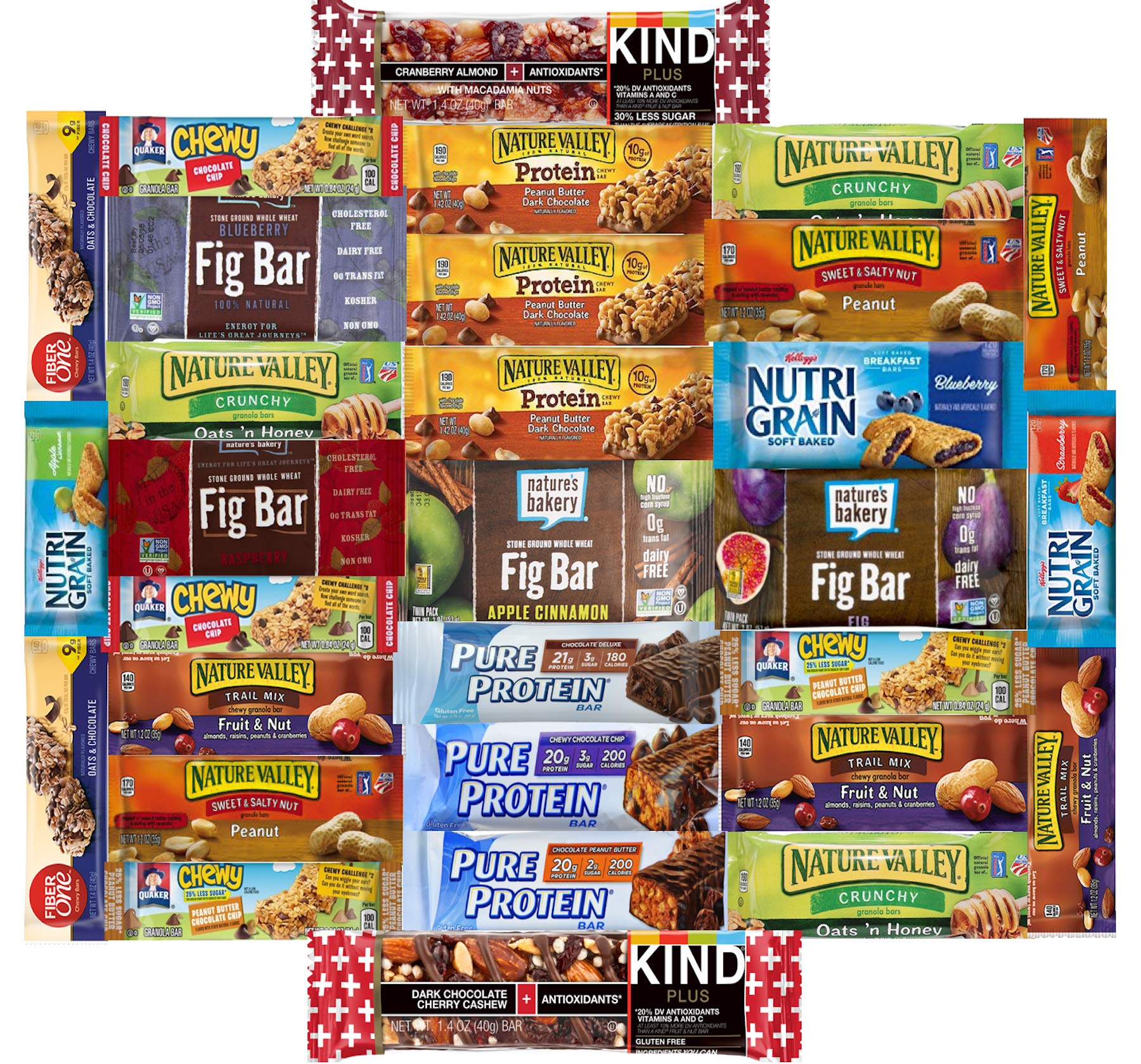 Fitness Box - Protein & Healthy Granola Bars NEW ASSORTMENTs Sampler Snack Box (30 Count) - Care Package - Gift Pack - Variety of Fitness, Energy Bars and KIND Bars.