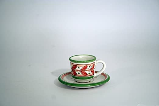 Tazzina con piattino in ceramica di Caltagirone