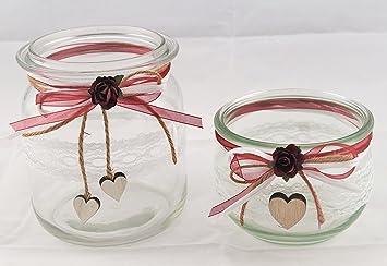 2 X Windlicht Vase Hochzeit Tischdeko Herz Spitze Vintage Taufe