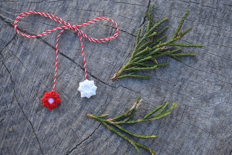 Bracelet Red /& White cotton Martenitsa  Martenica Martenitza Martisor Art AE