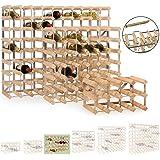 Système d' étagère à vin modulaire TREND en bois de chêne clair pour 30 boutteiles, empilable / extensible - H 42 x L 61,2 x P 22,8 cm