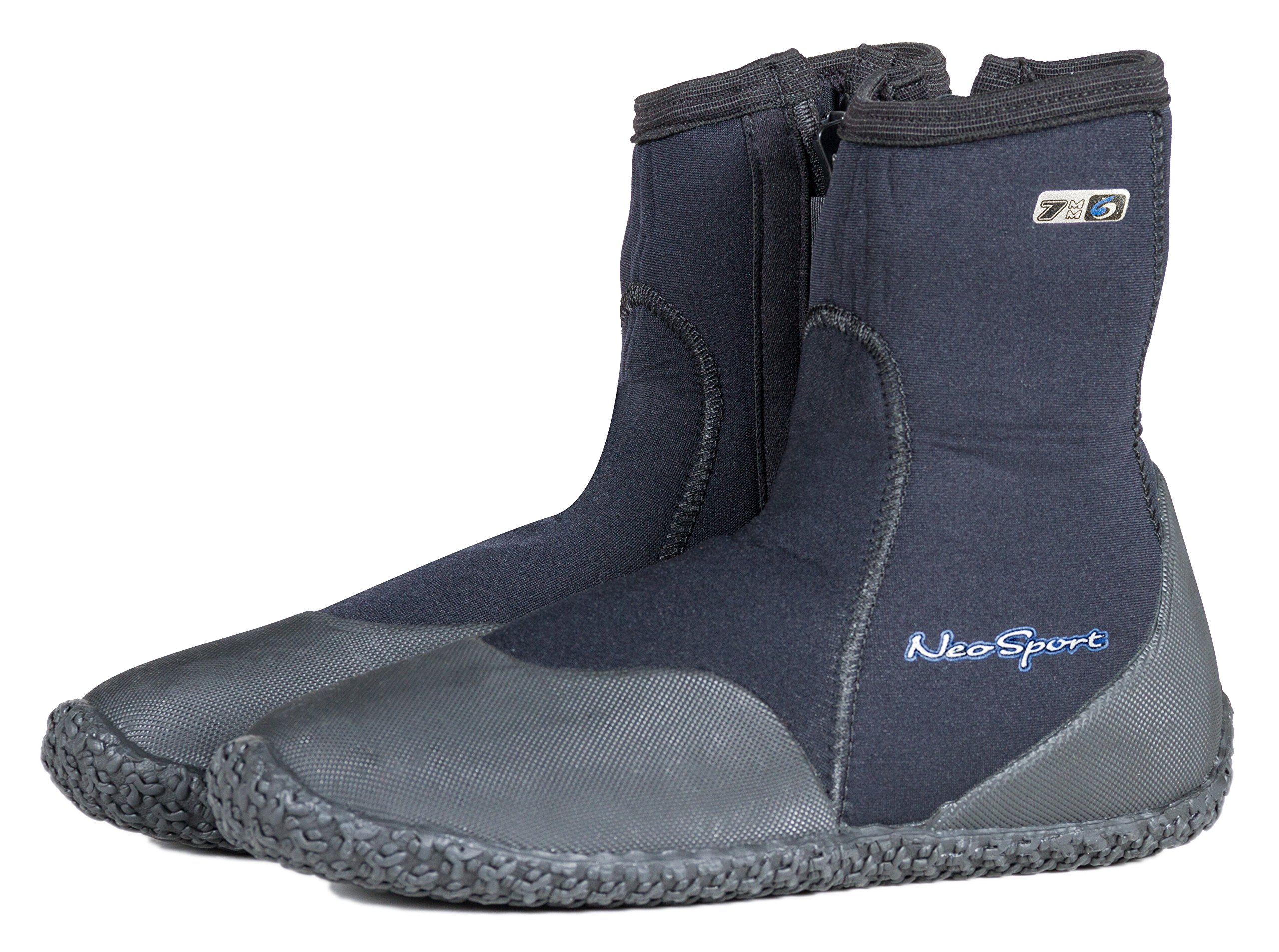 Neo Sport Premium Neoprene Men & Women Wetsuit Boots, Shoes with puncture resistant sole 3mm, 5mm & 7mm for warm, moderate or cold water for watersports: beach, boat, lake, mud, kayak and more! Sizes 4 - 16 by Neo-Sport