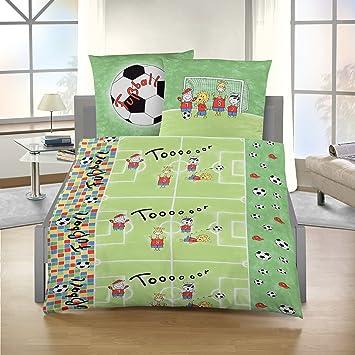 Bettwäsche Fussball Kinderbettwäsche 135x200 Cm Baumwolle Biber