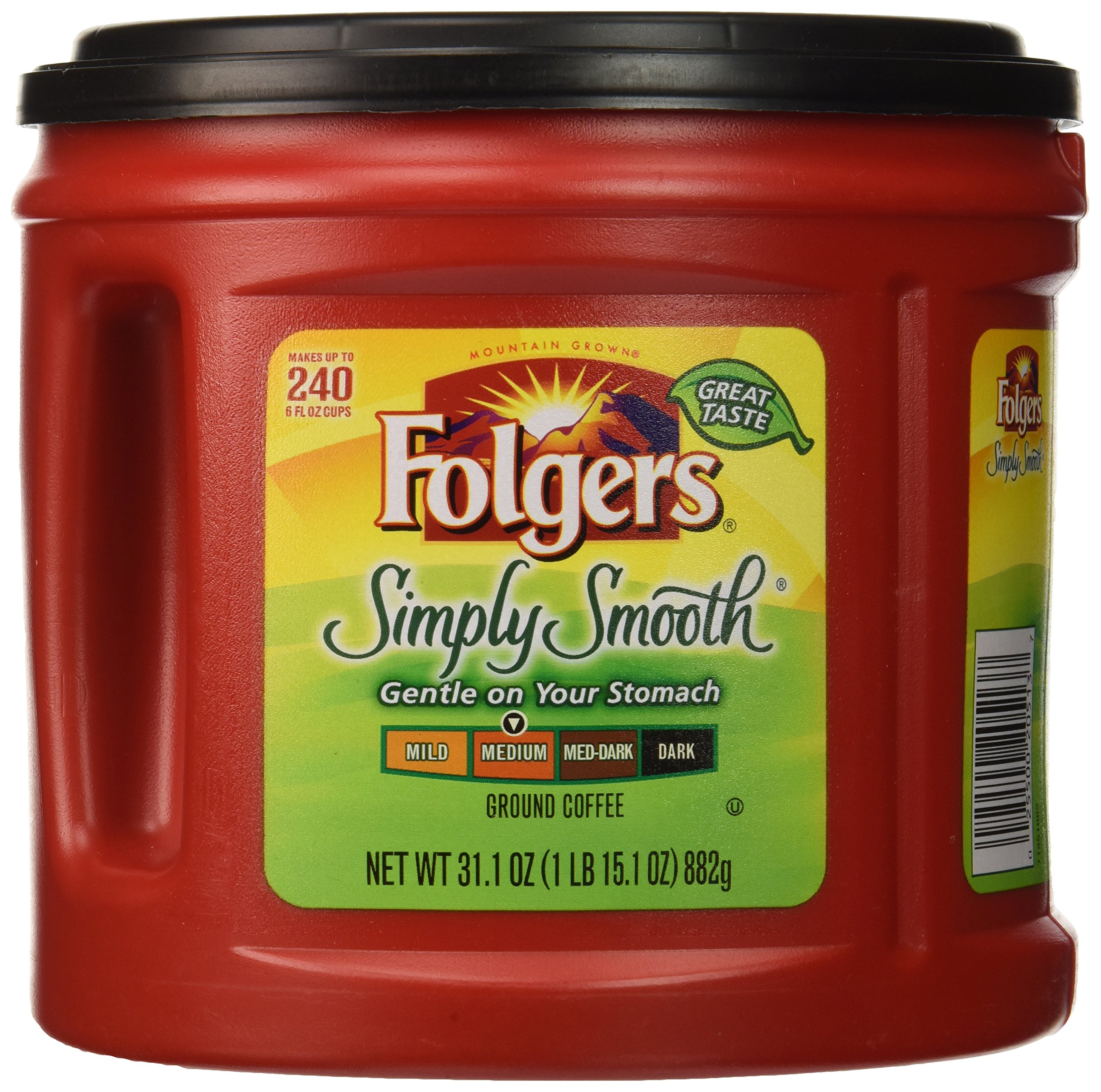 Folgers Simply Smooth Ground Coffee, Medium Roast, 31.1 Ounce