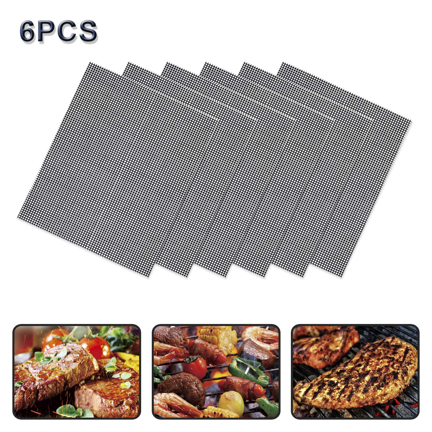 FYS Non Stick Grill Mesh Mats 6PCS-Nonstick Heavy Duty BBQ Grilling & Baking Accessories Reusable,and Easy to Clean - Works on Electric Grill Gas Charcoal BBQ - Extended Warranty-Can be Cut,Black by FYS