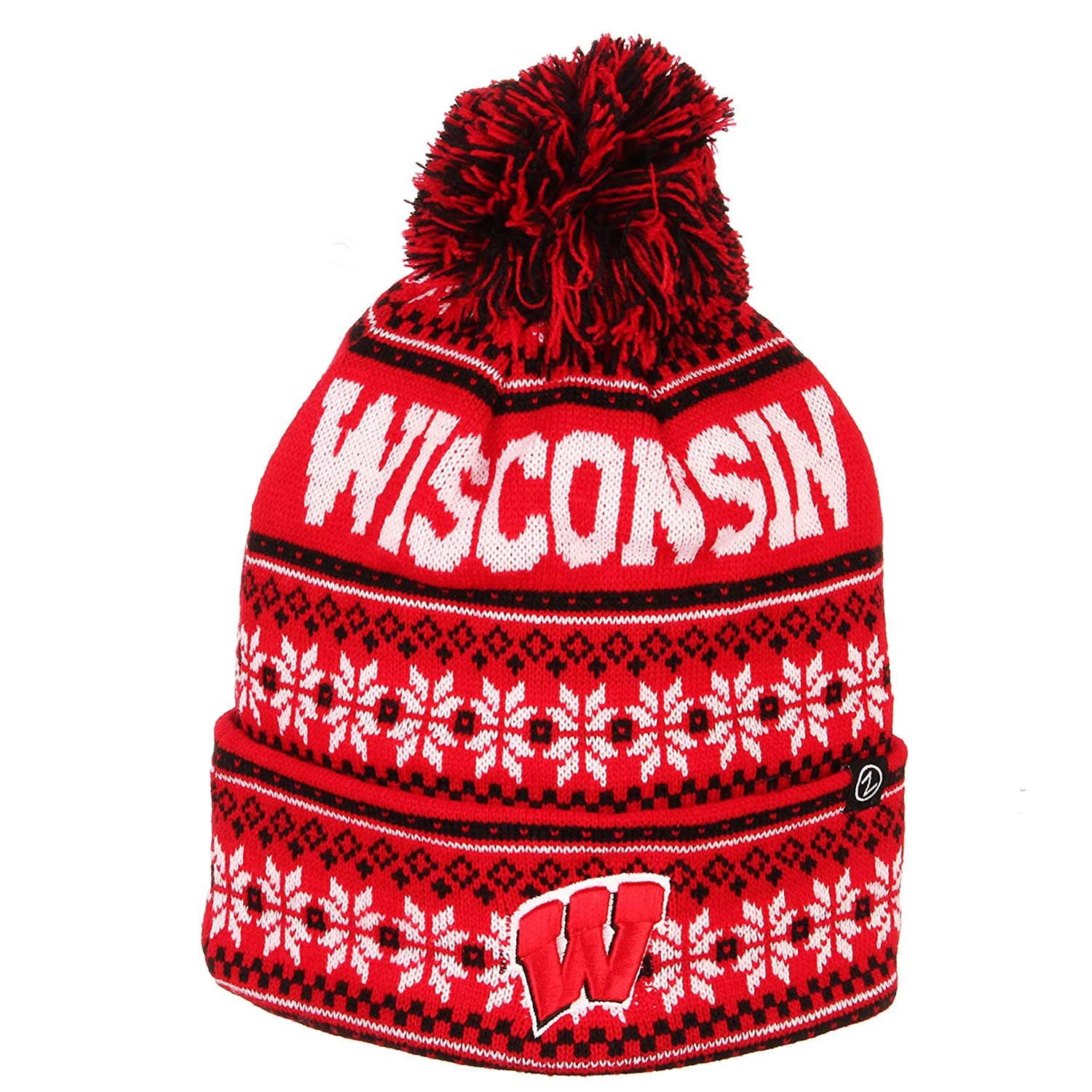 NCAA Zephyr Wisconsin Badgers Mens Blitzen Cuffed Pom Knit Beanie Team Color One Size Fits Most