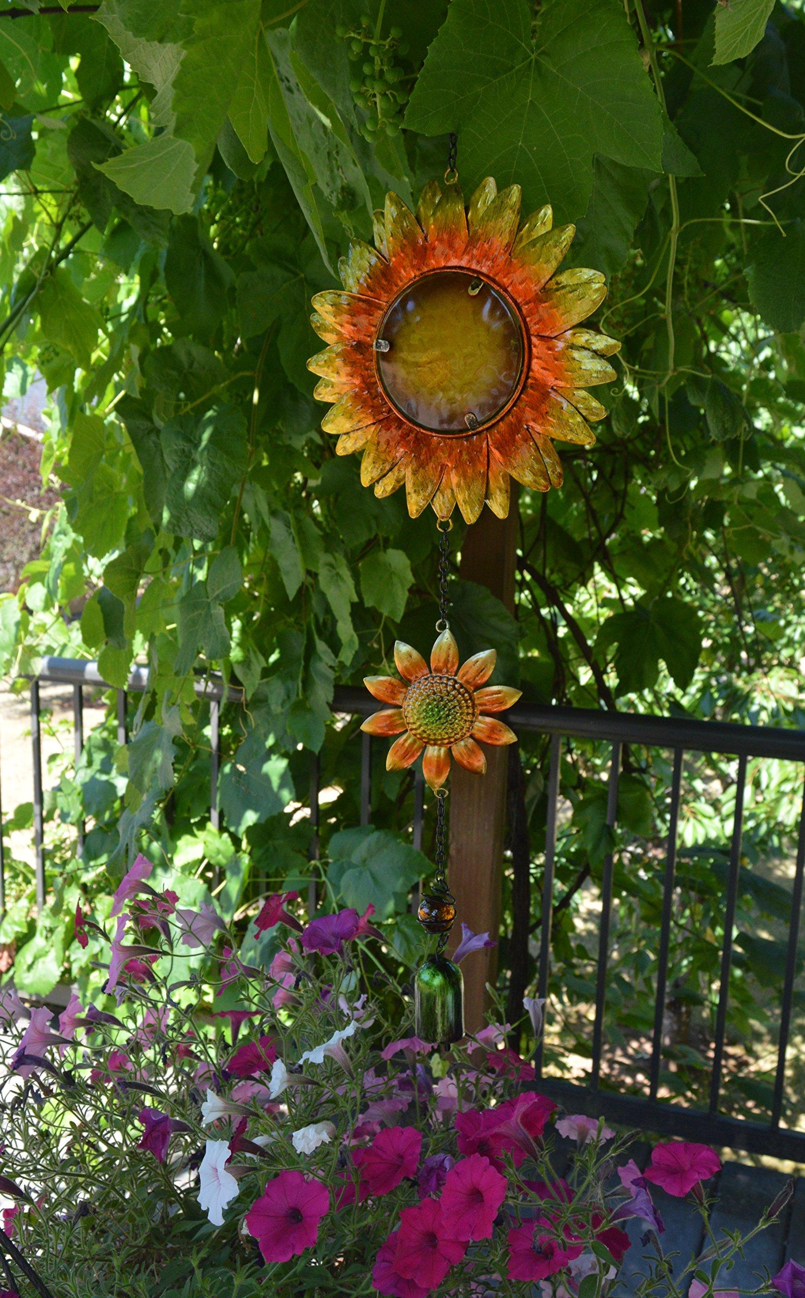 Sunset Vista Designs Hanging Decoration Garden Bell, 26-Inch, Sunflowers