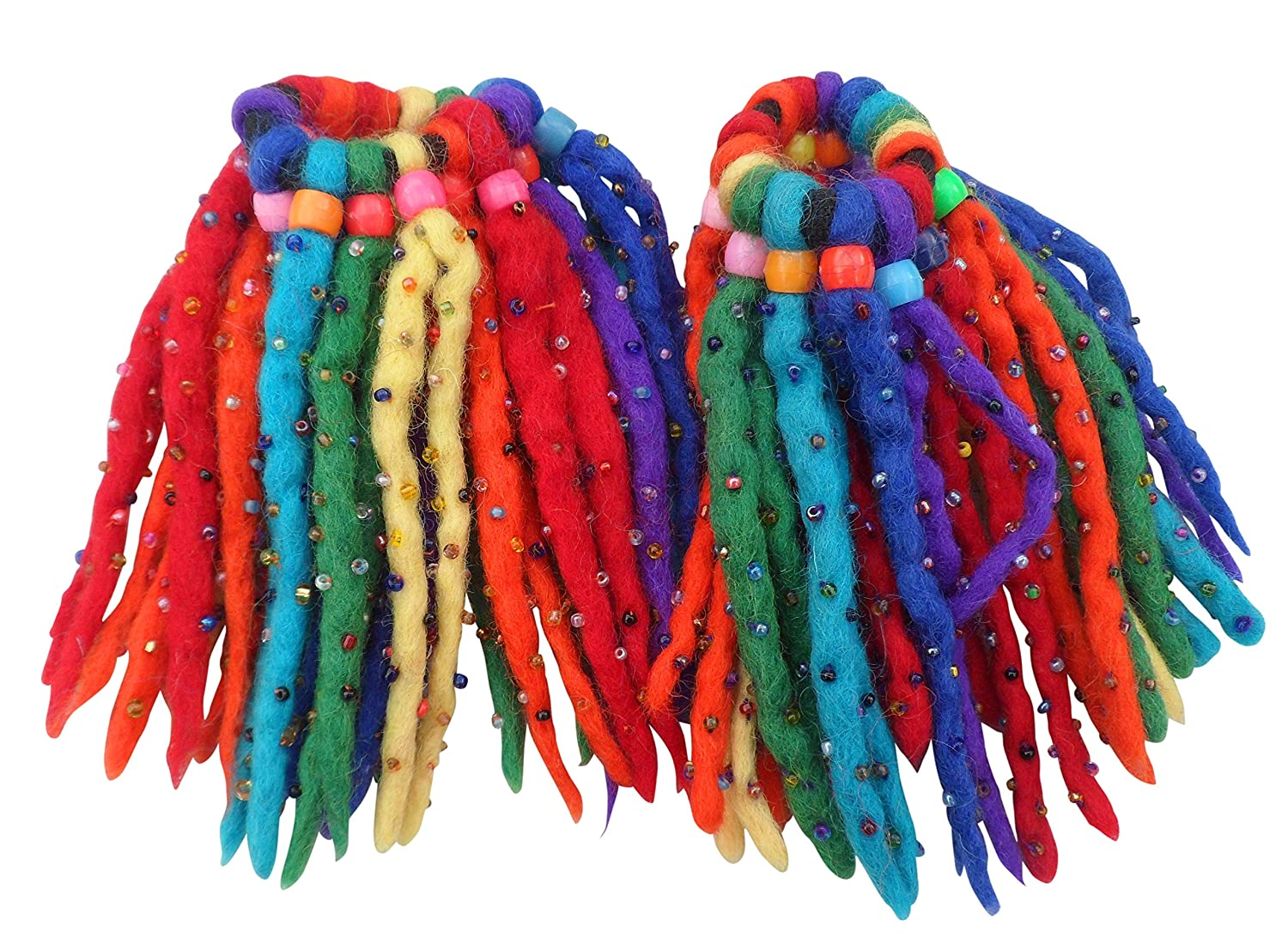 FAIR TRADE FELT WOOL COLOURED 16 KNOT ELASTIC HAIR SCRUNCHY DREADLOCKS 2 PACK