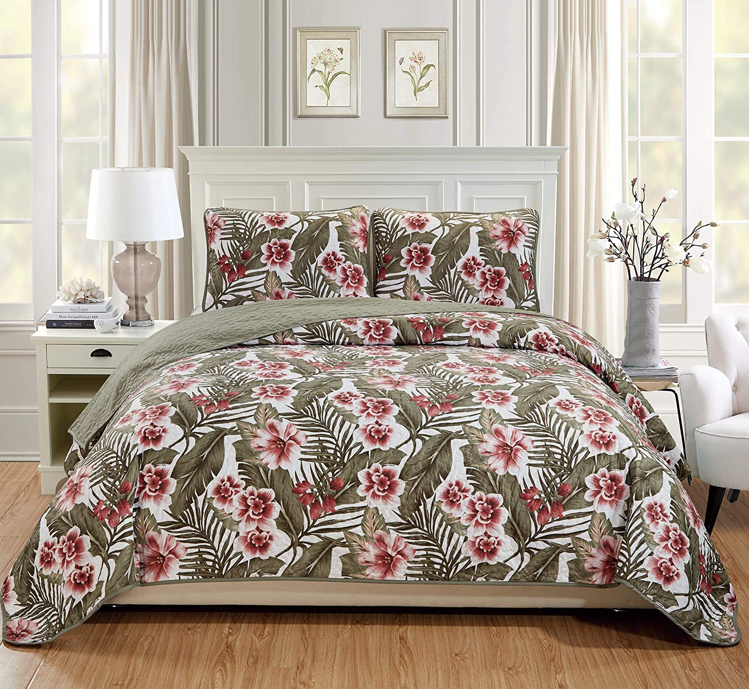 Fancy Linen 3pc King/California King Bedspread Quilt Set Over Size Bed Cover with Flowers Leaves Sage Green Burgundy White Taupe New